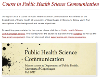 Public health science comm page